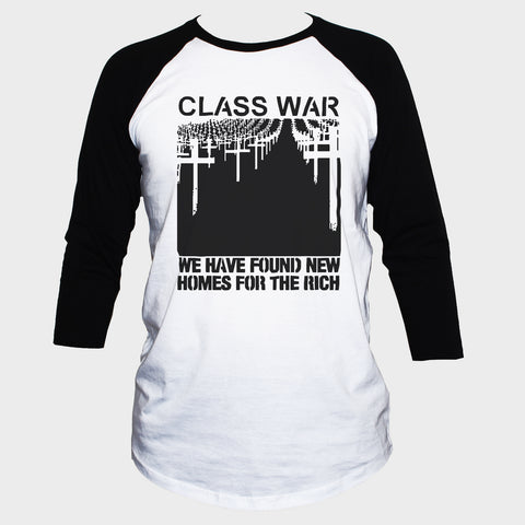 Class War Political T shirt 3/4 Sleeve Punk Anarchist Tee