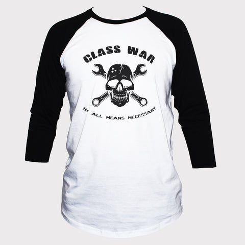 Anarchist Class War Political T shirt 3/4 Sleeve Alternative Top