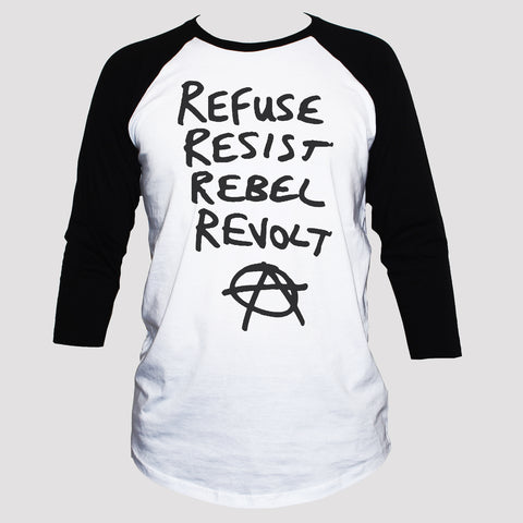 "Anarchist ""Resist Rebel Revolt"" T shirt 3/4 Sleeve Political Top"