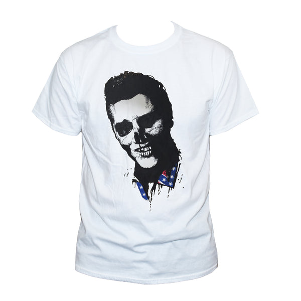 Dead Elvis Skull Rockabilly Goth Style Graphic T shirt