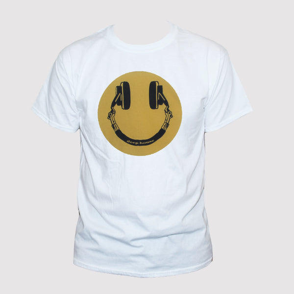 "House Music Fan ""Headphones Smiley"" Retro Style T shirt"