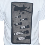 "Political Left Wing Anti War T shirt ""Bomb Democracy"" Peace Protest Graphic Tee"