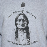 Sitting Bull T shirt Earth Friendly Eco Quote Unisex Graphic Tee Grey