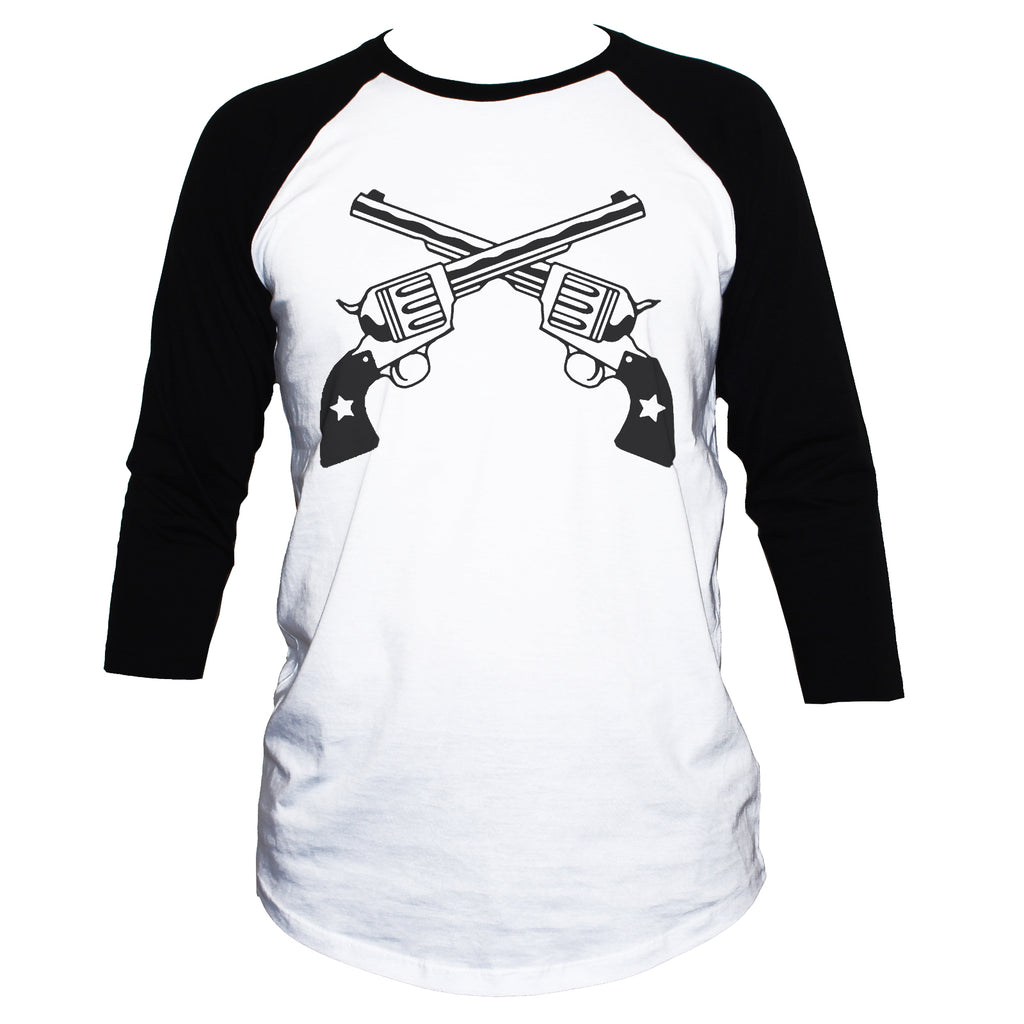 Crossed Guns/Revolvers Rebel T shirt 3/4 Sleeve Retro Top