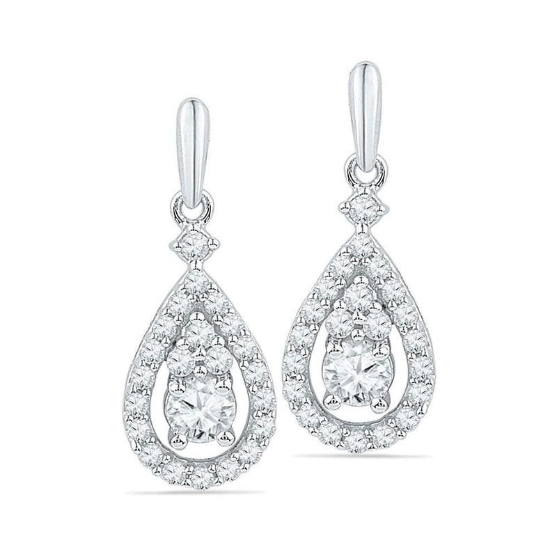 Solitaire Teardrop Dangle Earrings