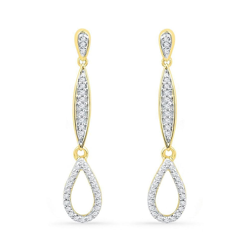 10kt Yellow Gold Womens Round Diamond Slender Teardrop Dangle Earrings 1/5 Cttw