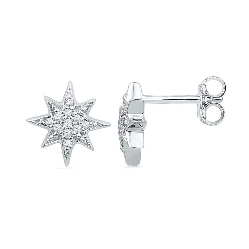 10kt White Gold Womens Round Diamond Starburst Cluster Screwback Earrings 1/10 Cttw