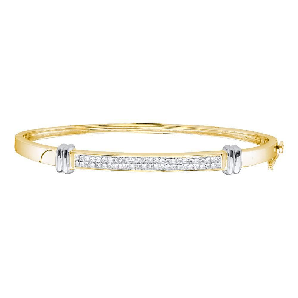 14K Two-tone Yellow Gold Womens Princess Diamond Bangle Bracelet 1.00 Cttw