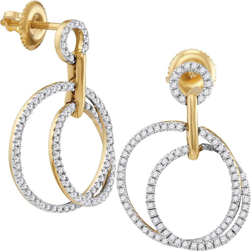 10kt Yellow Gold Womens Round Diamond Circle Dangle Earrings 1/2 Cttw