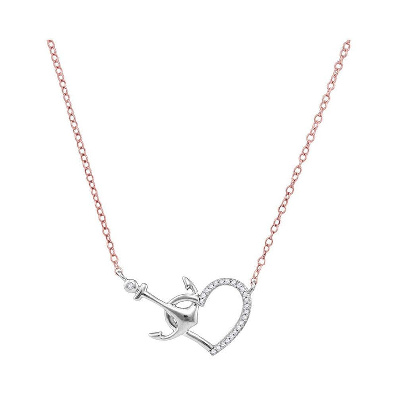 10K White Gold Womens Round Diamond Heart & Anchor Pendant Necklace 1/12 Cttw
