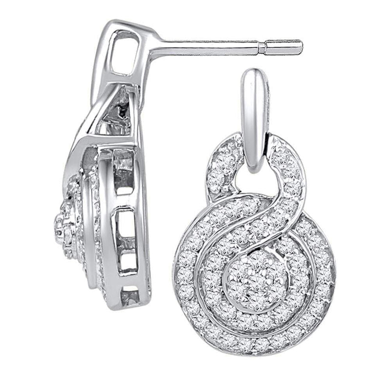 10kt White Gold Womens Round Diamond Concentric Circle Cluster Earrings 1/2 Cttw