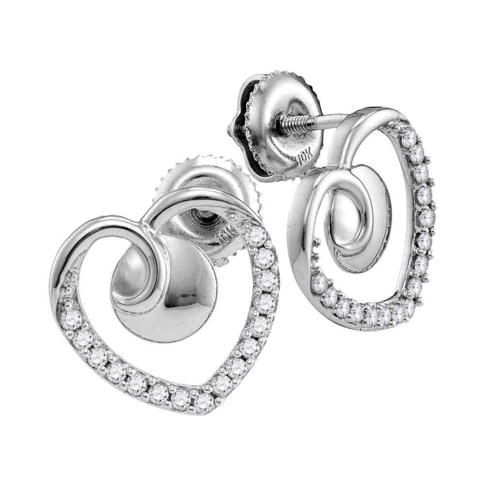10kt White Gold Womens Round Diamond Heart Screwback Earrings 1/4 Cttw