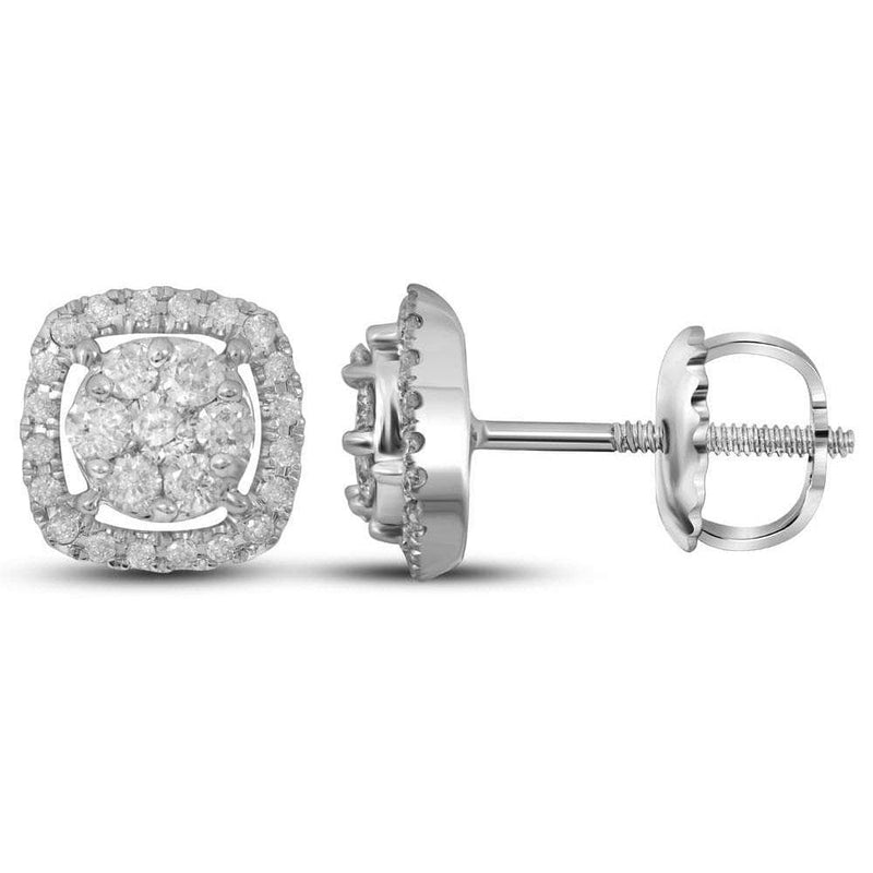 14kt White Gold Womens Round Diamond Flower Cluster Square Frame Earrings 3/8 Cttw