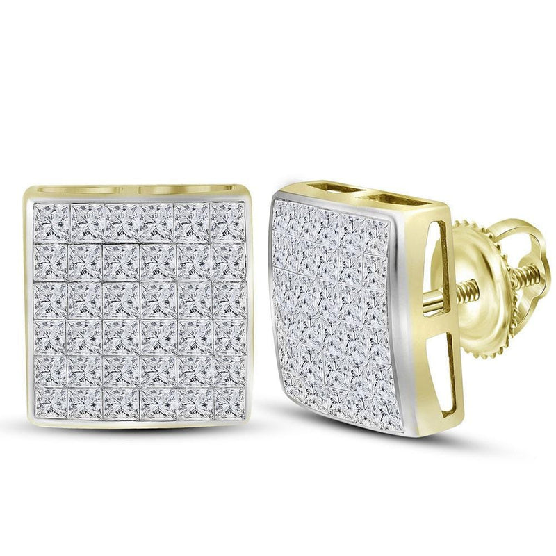 Yellow Gold square Diamond Earrings
