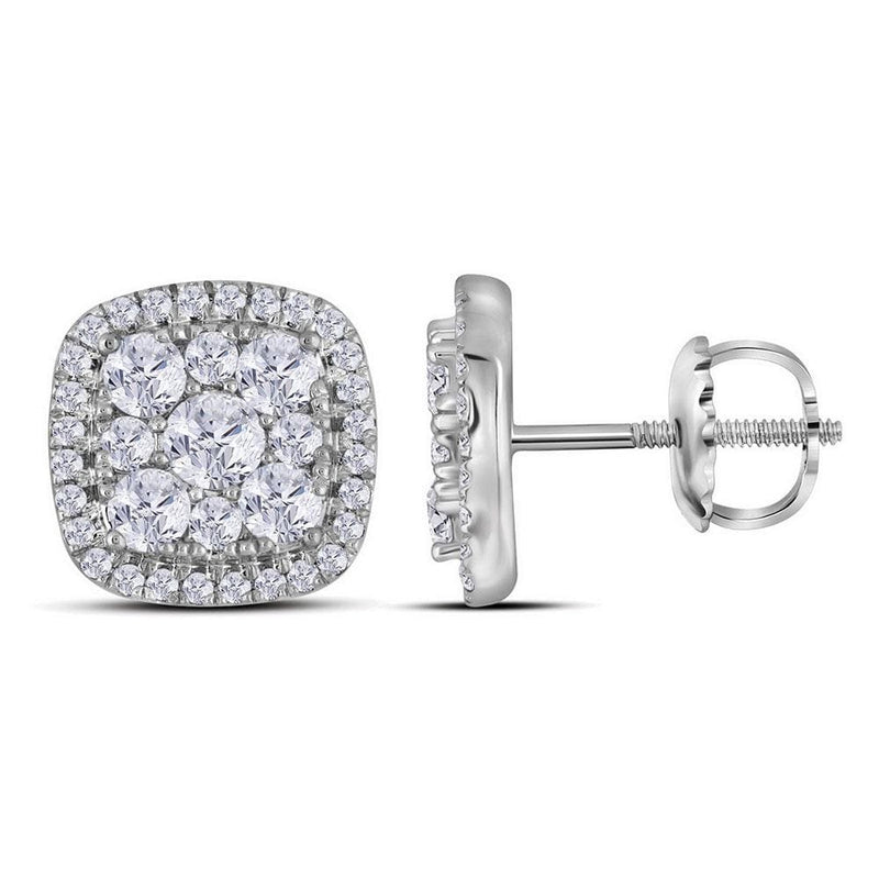 10kt White Gold Womens Round Diamond Framed Square Cluster Earrings 1.00 Cttw
