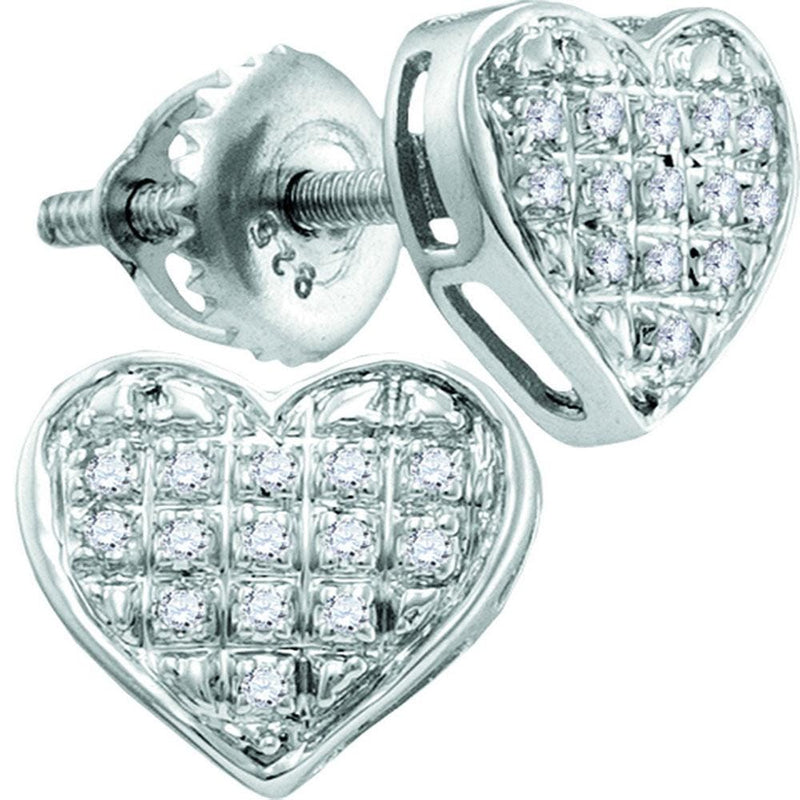 10kt White Gold Womens Round Diamond Heart Cluster Stud Earrings 1/20 Cttw