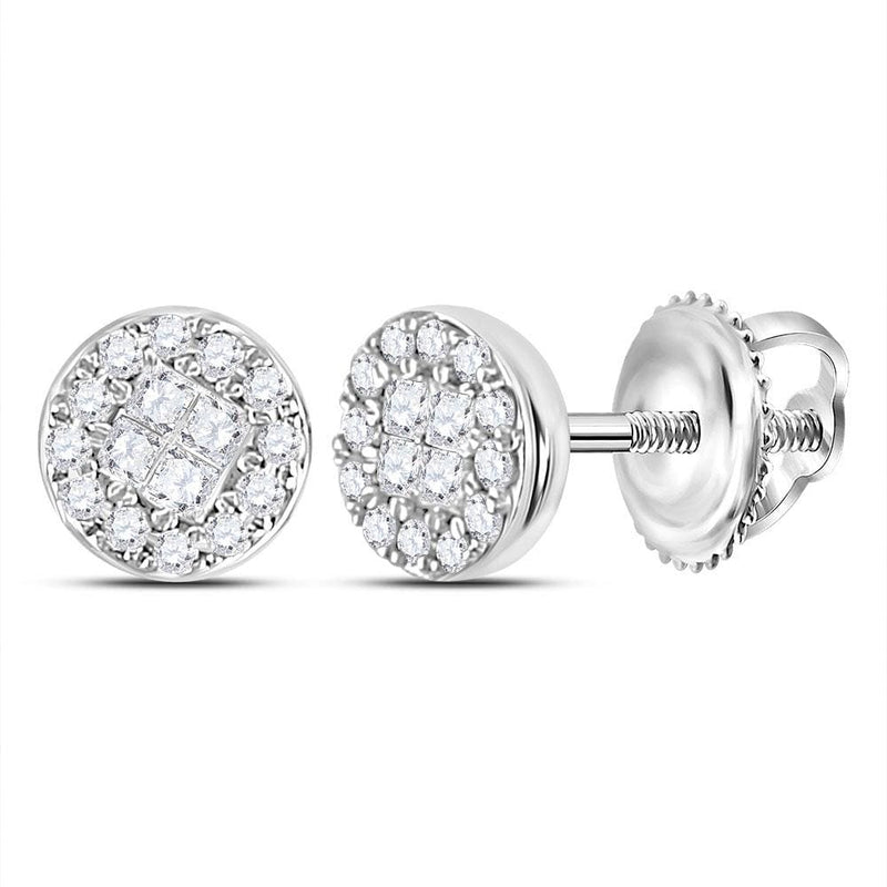 10kt White Gold Womens Princess Round Diamond Soleil Cluster Earrings 1/6 Cttw