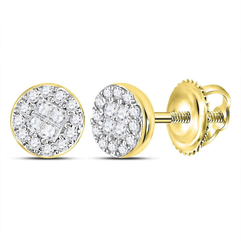 14kt Yellow Gold Womens Princess Round Diamond Soleil Cluster Earrings 1/6 Cttw