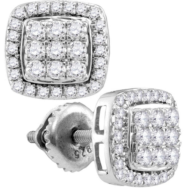 10kt White Gold Womens Round Diamond Square Cluster Screwback Earrings 1.00 Cttw