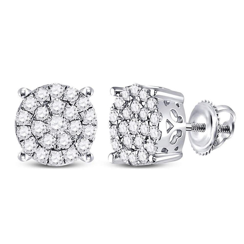 10kt White Gold Womens Round Diamond Cindy's Dream Cluster Earrings 1.00 Cttw