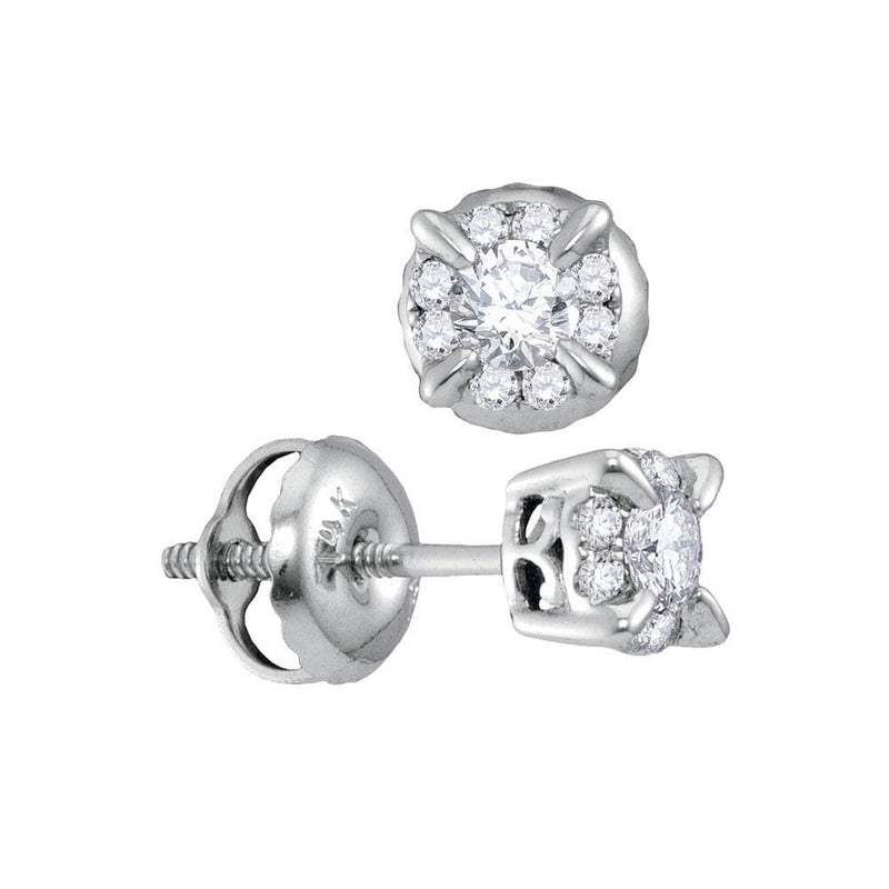 14kt White Gold Womens Round Diamond Framed Solitaire Screwback Stud Earrings 1/4 Cttw