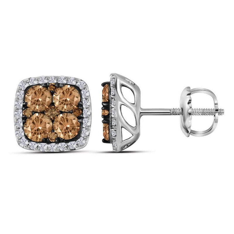 14kt White Gold Womens Round Brown Color Enhanced Diamond Square Cluster Earrings 1.00 Cttw
