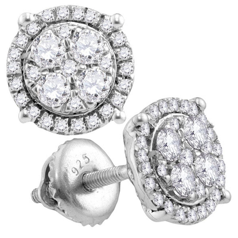 10kt White Gold Womens Round Diamond Circle Cluster Earrings 1.00 Cttw