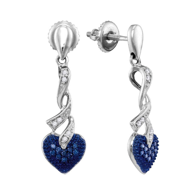 Sterling Silver Womens Round Blue Color Enhanced Diamond Heart Screwback Dangle Earrings 1/5 Cttw