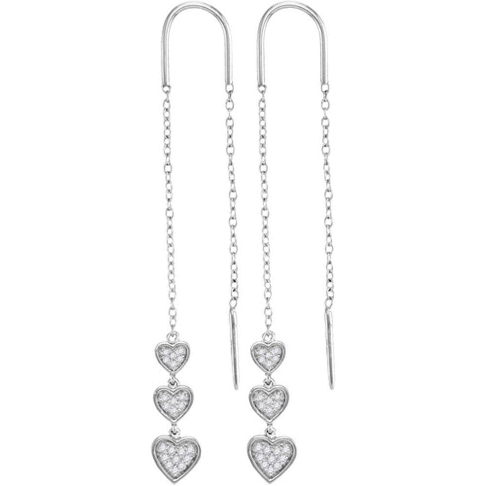 Triple Heart Dangle Threader Earrings