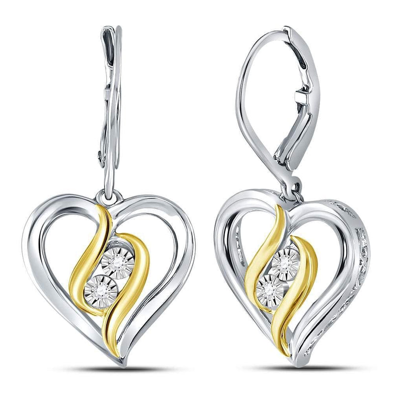 heart drop earrings gold