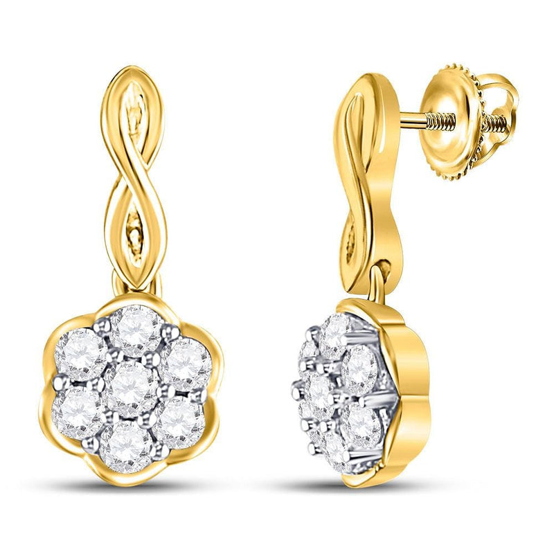 10kt Yellow Gold Womens Round Diamond Flower Cluster Dangle Earrings 1/2 Cttw