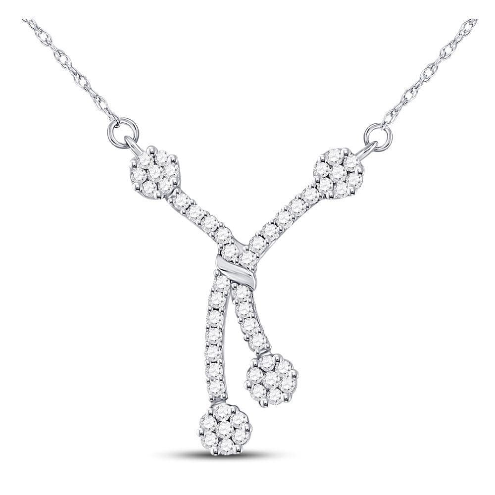 14K White Gold Womens Round Diamond Dangle Flower Cluster Fashion Necklace 1/2 Cttw