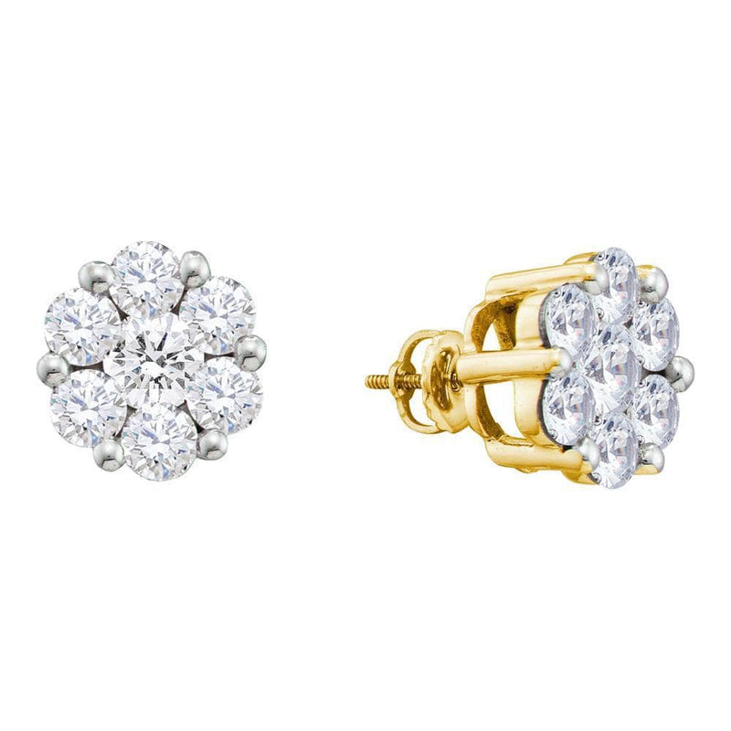 14kt Yellow Gold Womens Round Diamond Large Flower Cluster Stud Earrings 1-1/2 Cttw