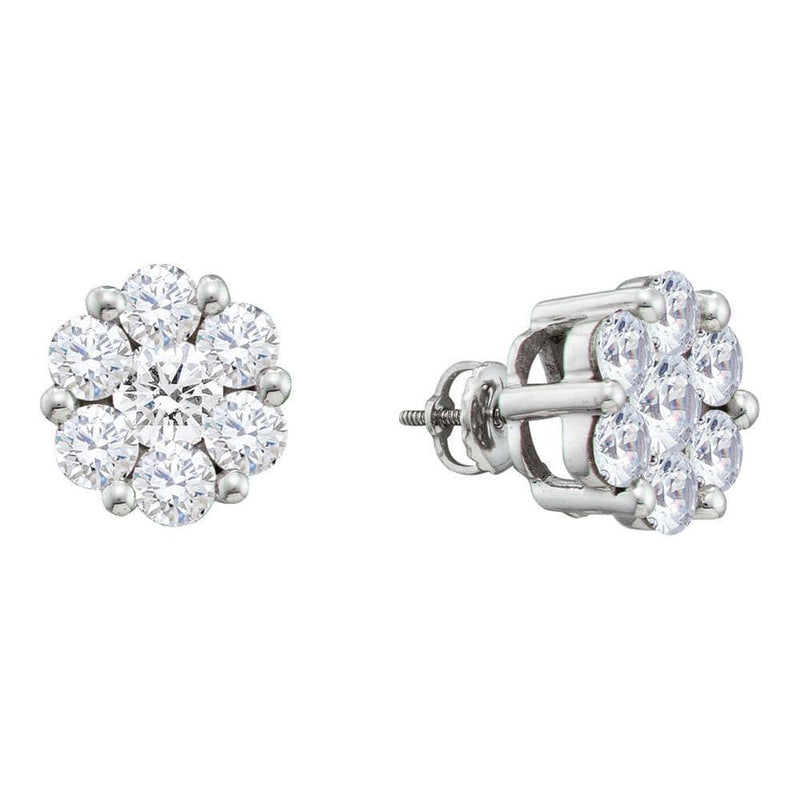 14kt White Gold Womens Round Diamond Large Flower Cluster Stud Earrings 1-1/2 Cttw