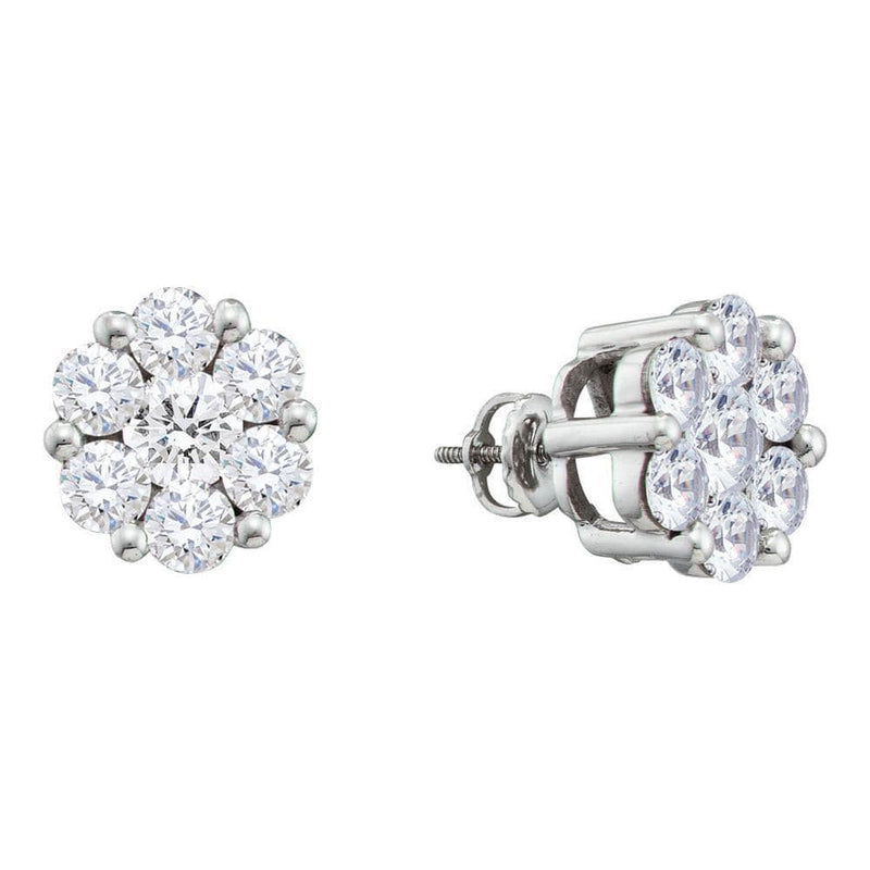 14kt White Gold Womens Round Diamond Flower Cluster Screwback Stud Earrings 2.00 Cttw