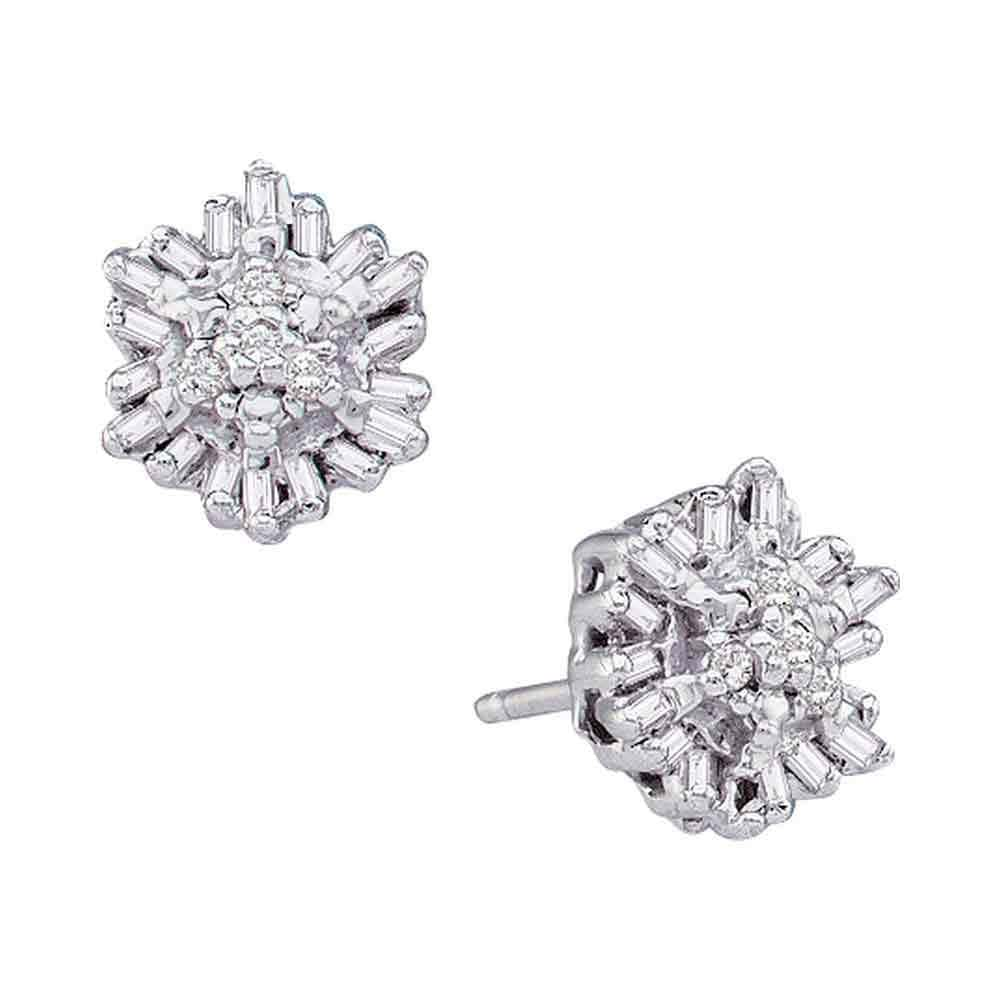 14kt White Gold Womens Round Baguette Diamond Cluster Stud Earrings 1/10 Cttw
