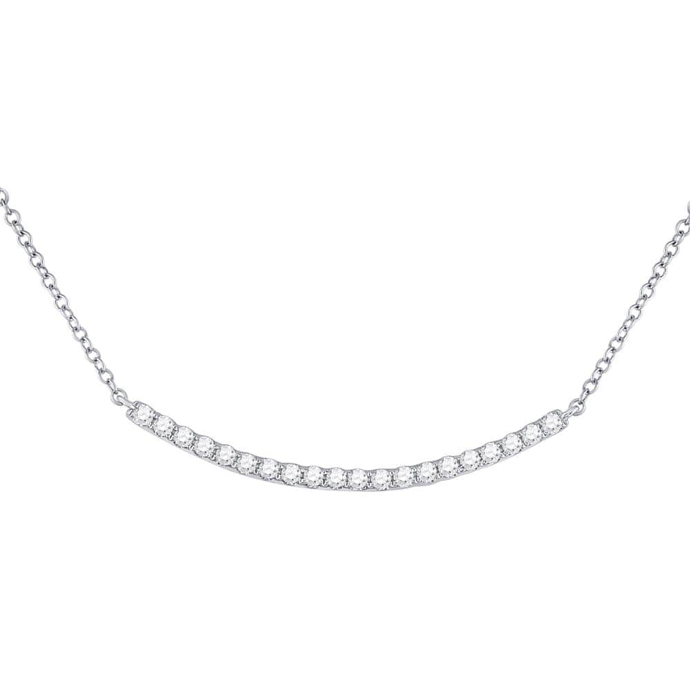 14K White Gold Womens Round Diamond Curved Bar Pendant Necklace 1/2 Cttw