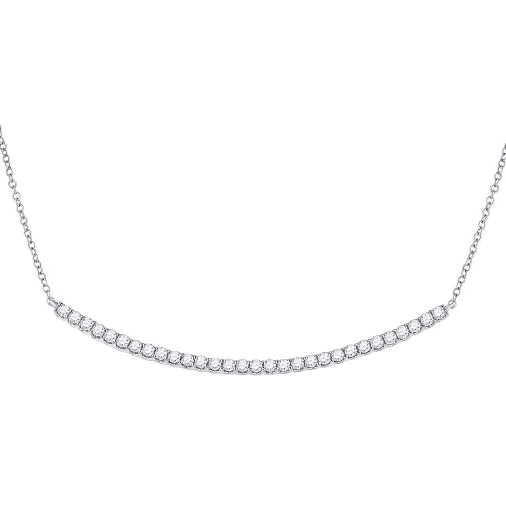 14K White Gold Womens Round Diamond Curved Bar Pendant Necklace 1.00 Cttw