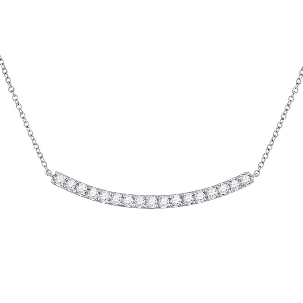 14K White Gold Womens Round Diamond Curved Bar Pendant Necklace 3/4 Cttw