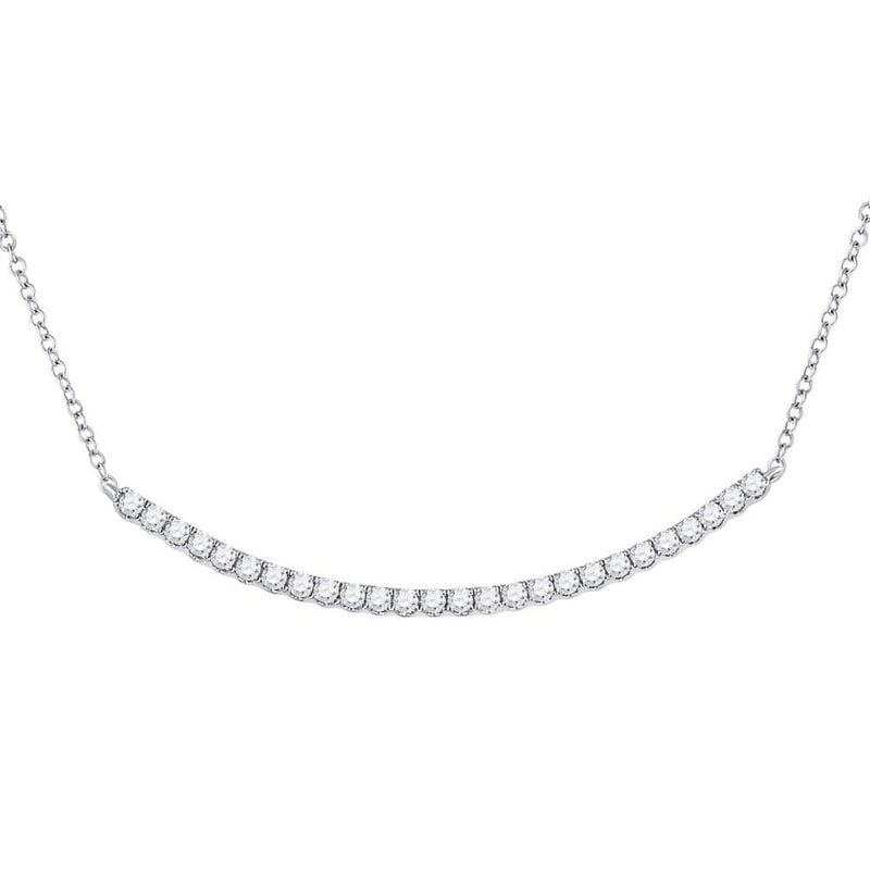14K White Gold Womens Round Diamond Curved Bar Necklace 3/4 Cttw