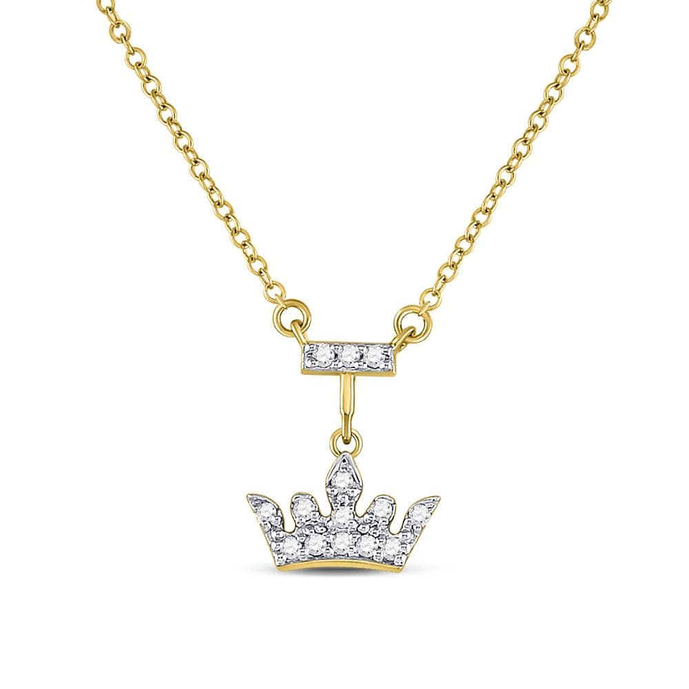 10K Yellow Gold Womens Round Diamond Crown Tiara Fashion Necklace 1/20 Cttw
