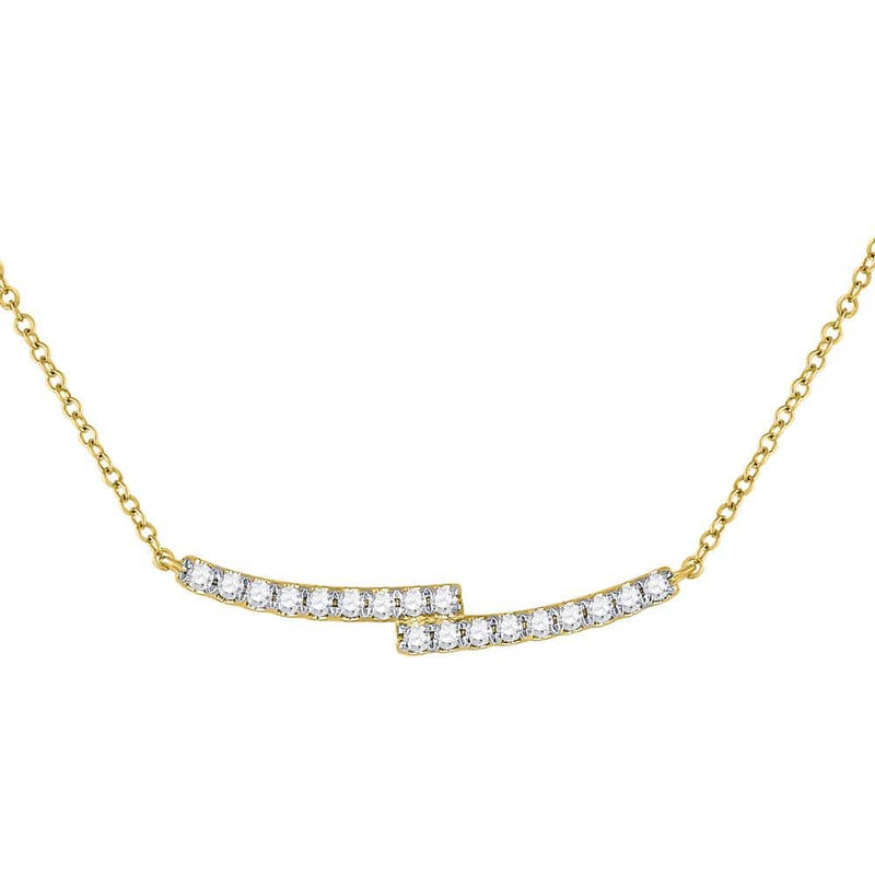 14K Yellow Gold Womens Round Diamond Double Bar Bypass Pendant Necklace 1/2 Cttw