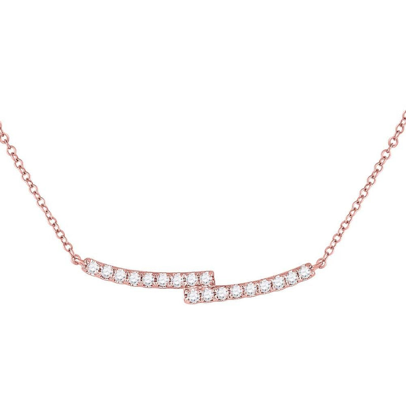 14K Rose Gold Womens Round Diamond Double Bar Bypass Pendant Necklace 1/2 Cttw