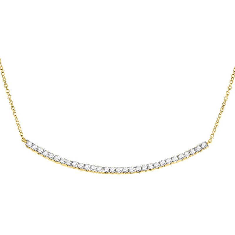 14K Yellow Gold Womens Round Diamond Curved Bar Pendant Necklace 1.00 Cttw