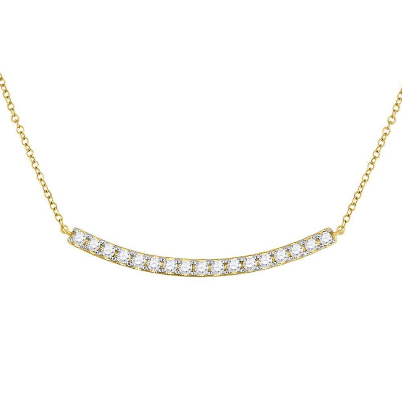 14K Yellow Gold Womens Round Diamond Curved Bar Pendant Necklace 3/4 Cttw