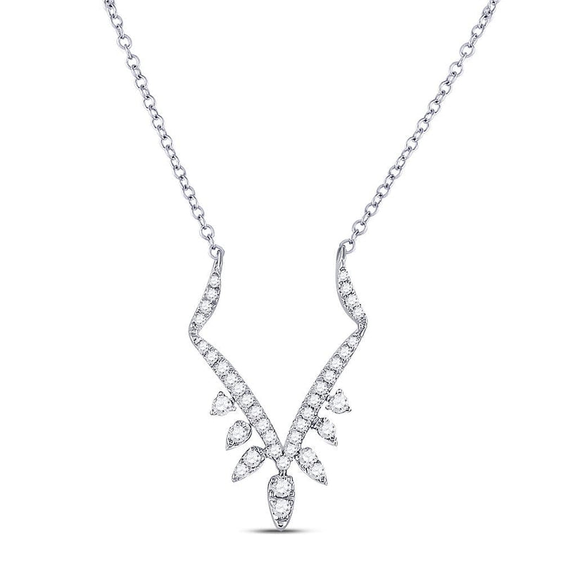 14K White Gold Womens Round Diamond Fashion Necklace 1/2 Cttw