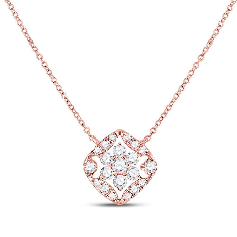 14K Rose Gold Womens Round Diamond Fashion Necklace 1/3 Cttw