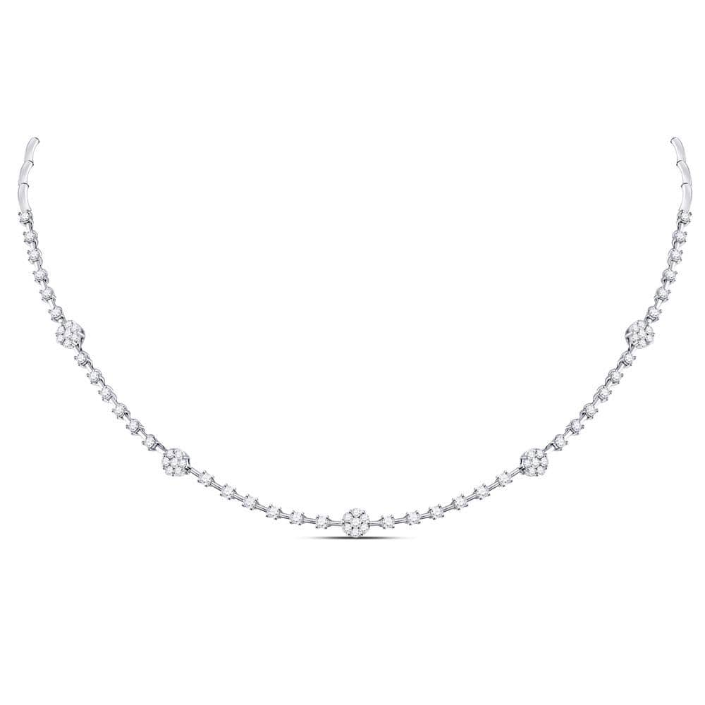 14K White Gold Womens Round Diamond Cluster Luxury Necklace 1-7/8 Cttw