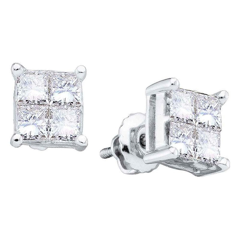 14kt White Gold Womens Princess Diamond Invisible-set Screwback Stud Earrings 1/2 Cttw