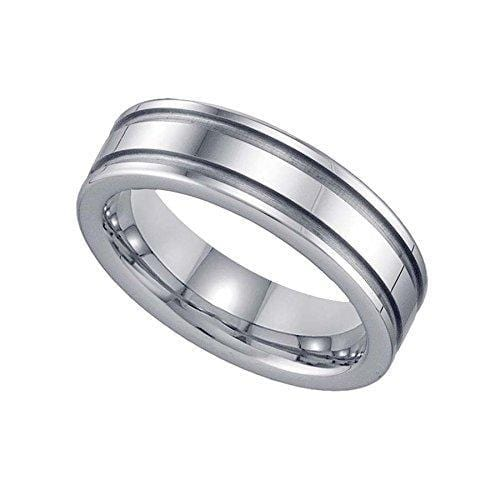 Tungsten Two Groove Comfort-fit 6mm Wedding Band, Ring, Silverine, Jawa Jewelers